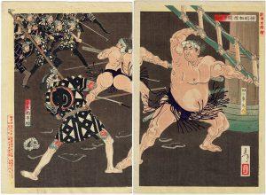 芳年 新撰東錦絵「神明相撲闘争之図」の写真