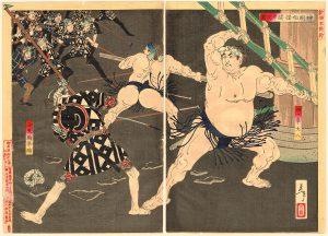 芳年 「神明相撲闘争之図」の写真
