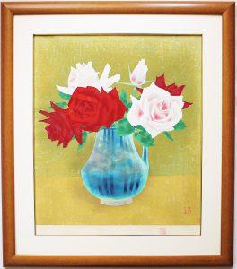 山口華楊木版画 「薔薇」 の写真