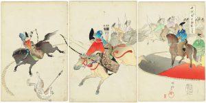 楊洲周延三枚続錦絵「千代田之御表 犬追物」の写真