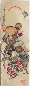河鍋暁斎堅二枚続浮世絵「明治二十二年 己丑 一月二日」の写真